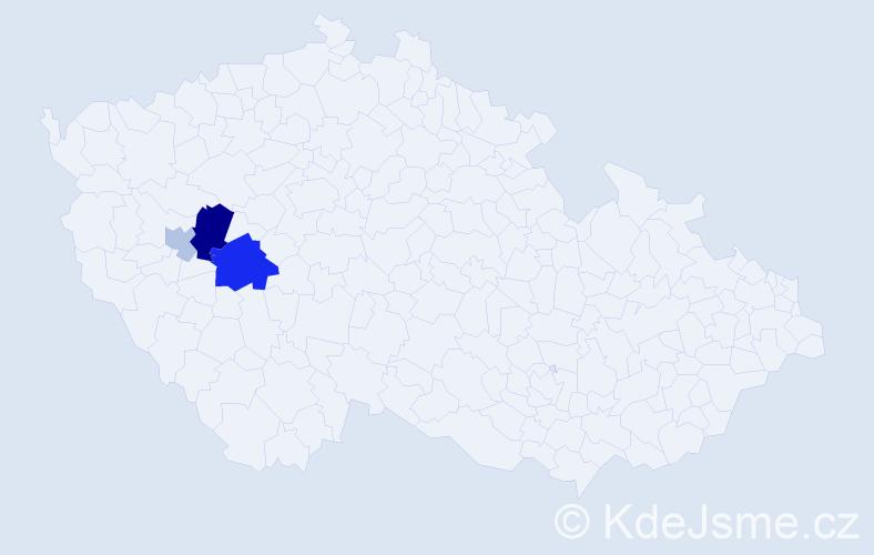 Příjmení: 'Hahnerová', počet výskytů 7 v celé ČR