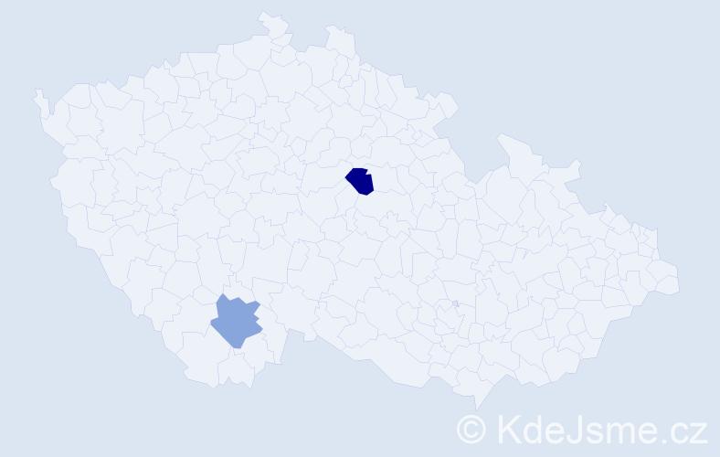 Příjmení: 'Hauselová', počet výskytů 2 v celé ČR