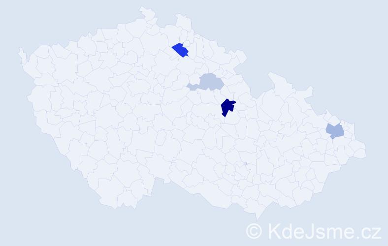 Příjmení: 'Legáth', počet výskytů 9 v celé ČR