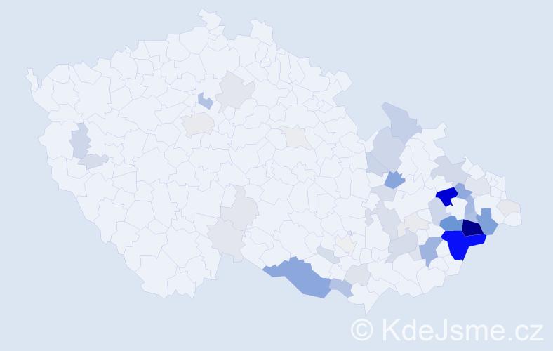 Příjmení: 'Chudějová', počet výskytů 189 v celé ČR
