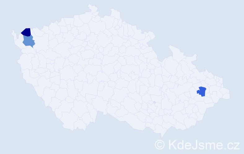 Příjmení: 'Bialončik', počet výskytů 5 v celé ČR