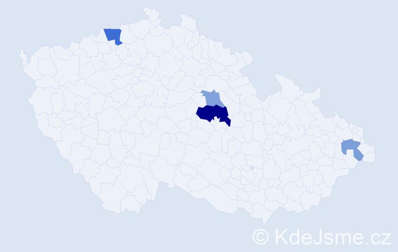 Příjmení: 'Erős', počet výskytů 7 v celé ČR