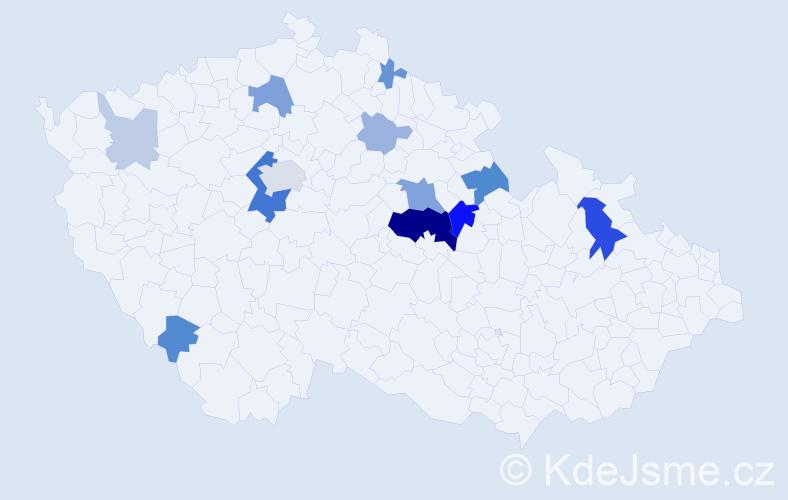 Příjmení: 'Klenor', počet výskytů 36 v celé ČR