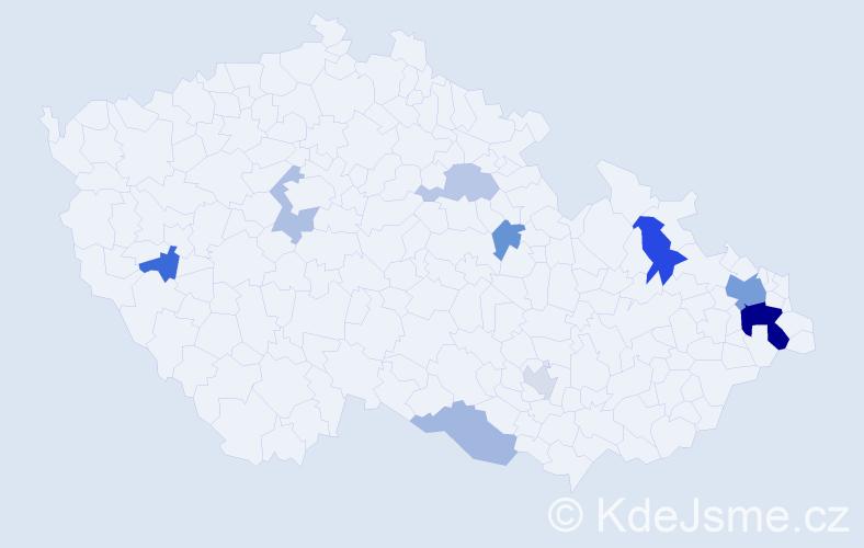 Příjmení: 'Hučka', počet výskytů 20 v celé ČR