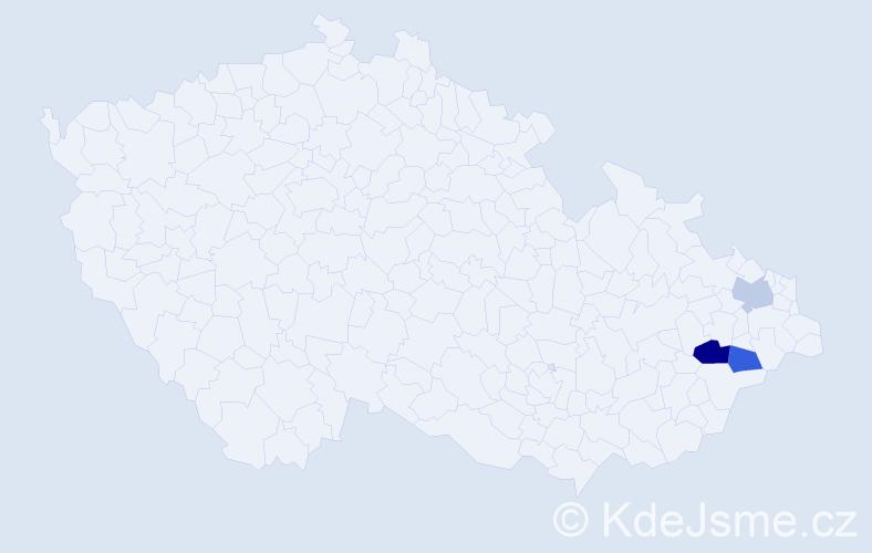 Příjmení: 'Dernická', počet výskytů 4 v celé ČR