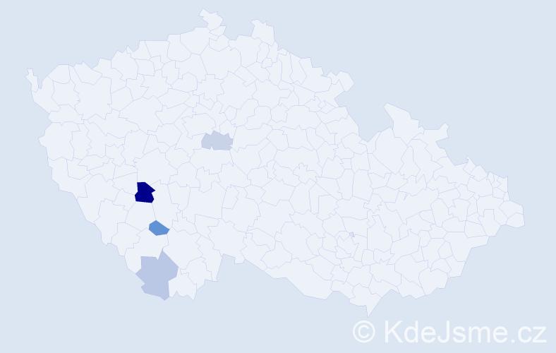 Příjmení: 'Hajdekrová', počet výskytů 6 v celé ČR