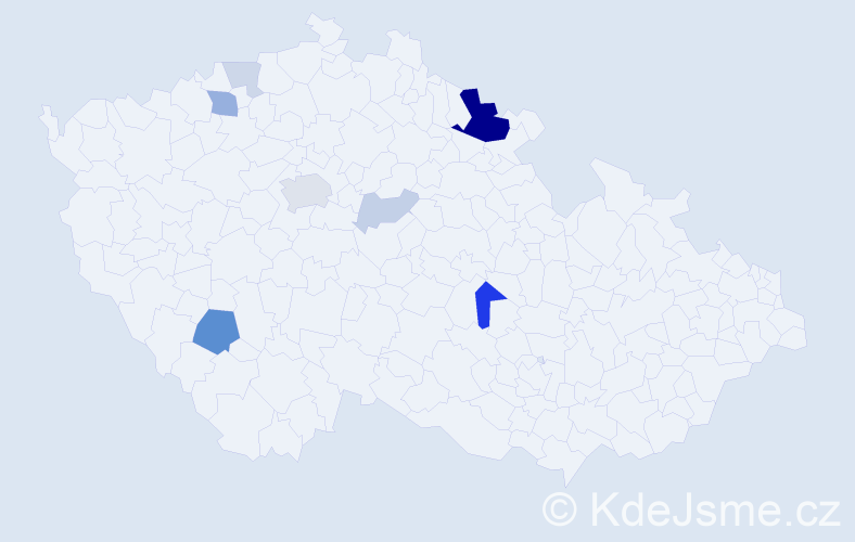 Příjmení: 'Kamitzová', počet výskytů 23 v celé ČR
