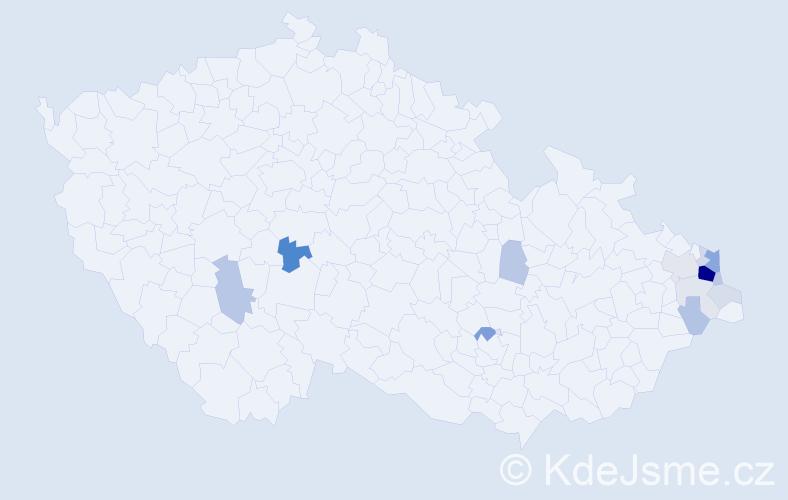 Příjmení: 'Jonszta', počet výskytů 46 v celé ČR