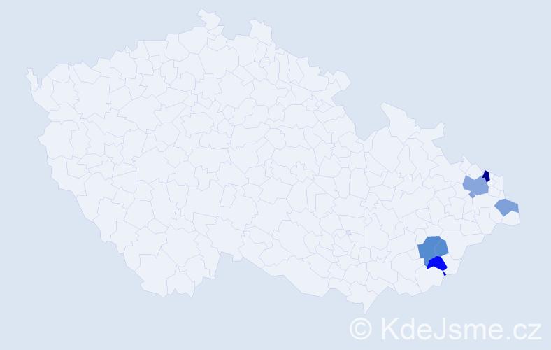 Příjmení: 'Bašanda', počet výskytů 20 v celé ČR