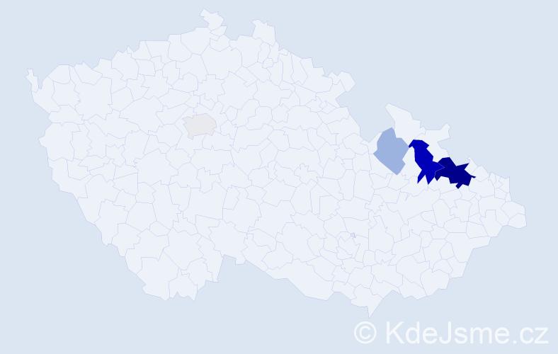 Příjmení: 'Bárky', počet výskytů 12 v celé ČR