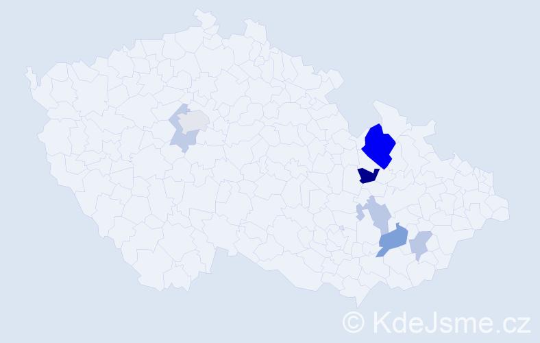 Příjmení: 'Gojiš', počet výskytů 15 v celé ČR