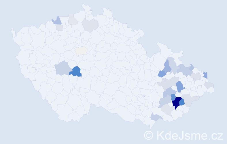 Příjmení: 'Čelůstka', počet výskytů 79 v celé ČR