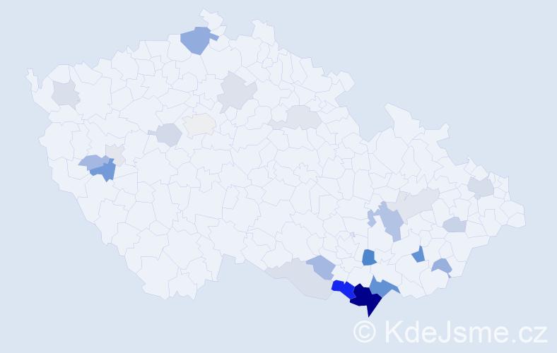 Příjmení: 'Jablonický', počet výskytů 59 v celé ČR