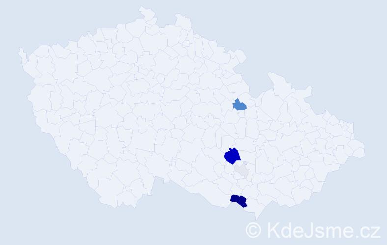 Příjmení: 'Komprs', počet výskytů 20 v celé ČR