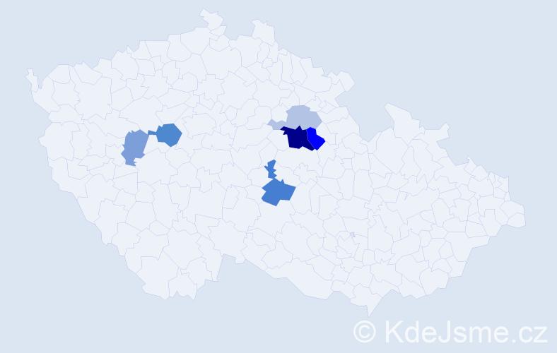 Příjmení: 'Hamaričová', počet výskytů 14 v celé ČR