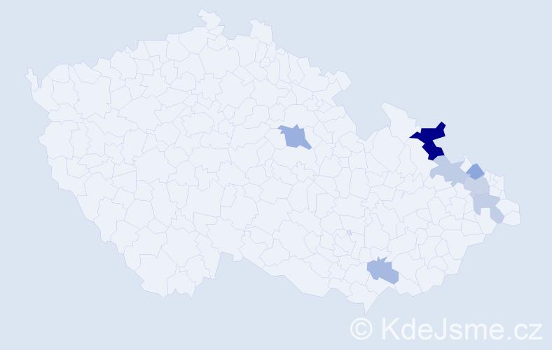 Příjmení: 'Gustyová', počet výskytů 13 v celé ČR