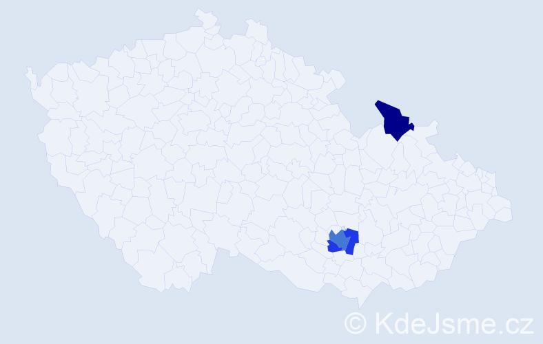Příjmení: 'Ergens', počet výskytů 5 v celé ČR