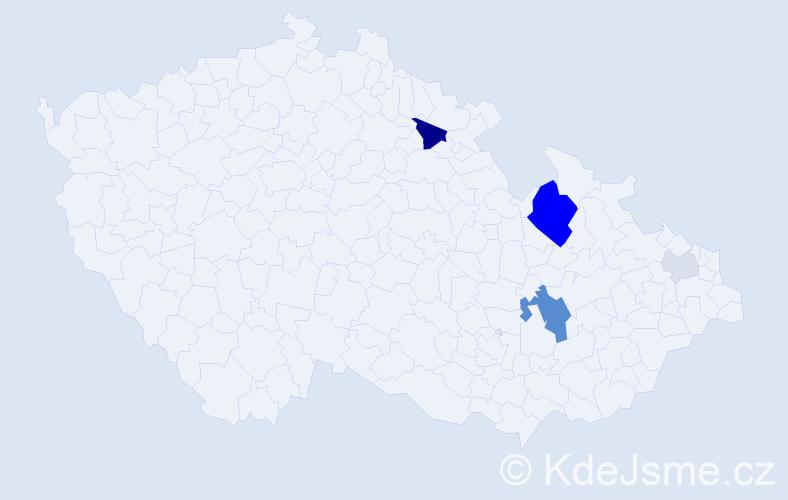 Příjmení: 'Hajnyšová', počet výskytů 14 v celé ČR