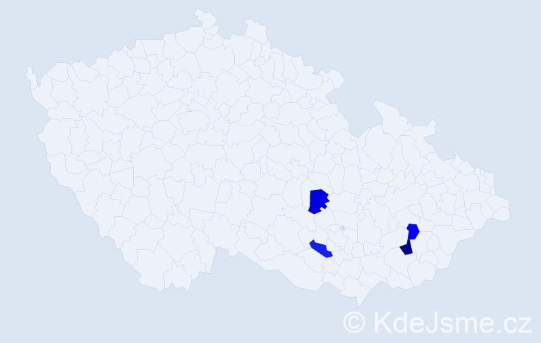 Příjmení: 'Bezectná', počet výskytů 5 v celé ČR