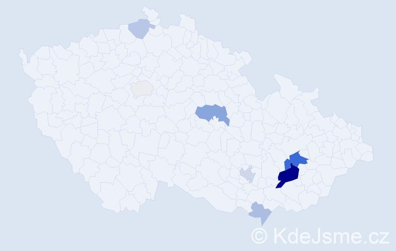 Příjmení: 'Kraťochová', počet výskytů 20 v celé ČR