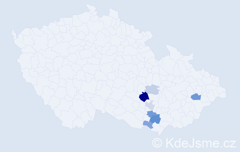 Příjmení: 'Kadla', počet výskytů 19 v celé ČR