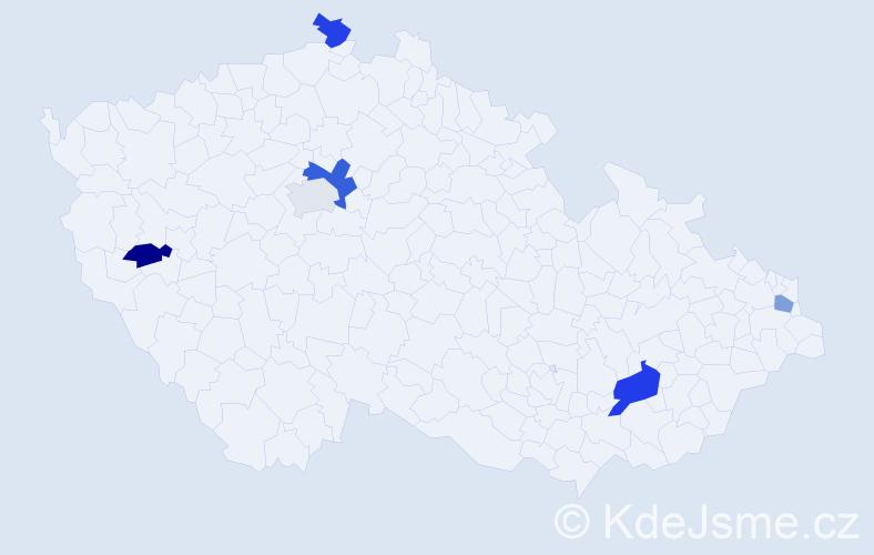 Příjmení: 'Biľová', počet výskytů 8 v celé ČR