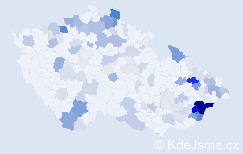 Příjmení: 'Daňová', počet výskytů 514 v celé ČR
