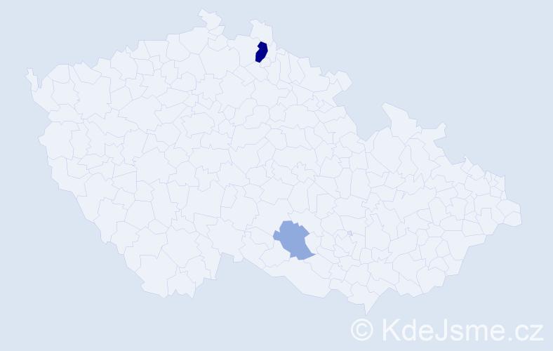 Příjmení: 'Hadidi', počet výskytů 5 v celé ČR