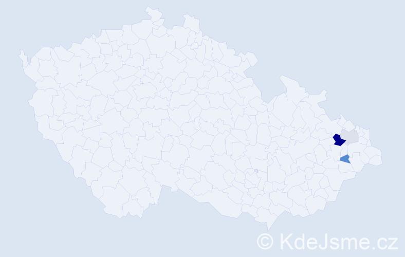 Příjmení: 'Čechanovič', počet výskytů 5 v celé ČR