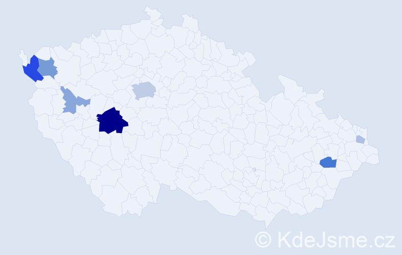 Příjmení: 'Čmoková', počet výskytů 21 v celé ČR
