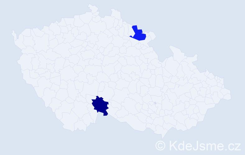 Příjmení: 'Gepprt', počet výskytů 2 v celé ČR