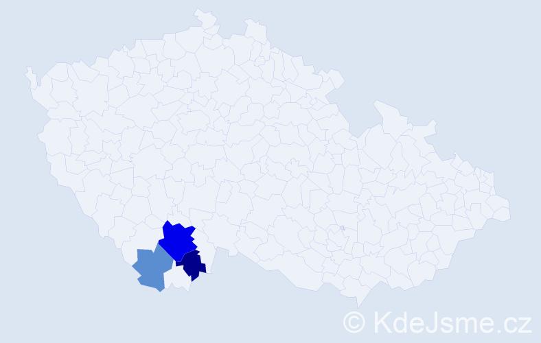 Příjmení: 'Dána', počet výskytů 7 v celé ČR