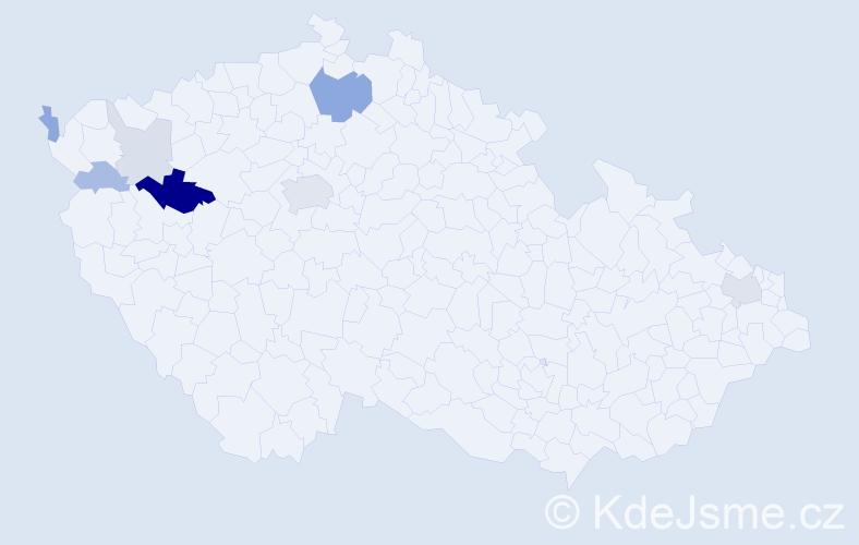 Příjmení: 'Kanát', počet výskytů 21 v celé ČR