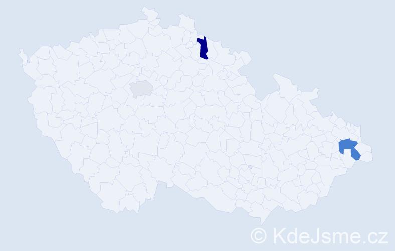 Příjmení: 'Elder', počet výskytů 4 v celé ČR