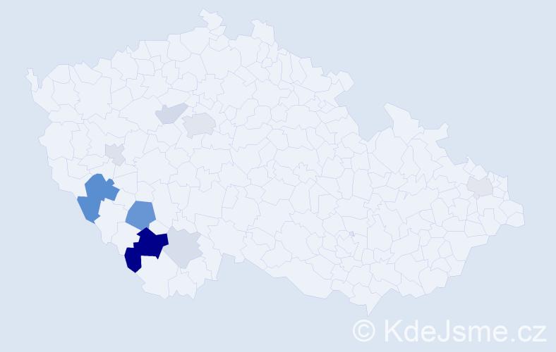 Příjmení: 'Eybl', počet výskytů 21 v celé ČR