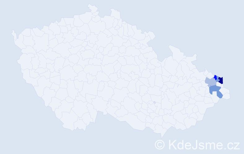 Příjmení: 'Čempel', počet výskytů 35 v celé ČR