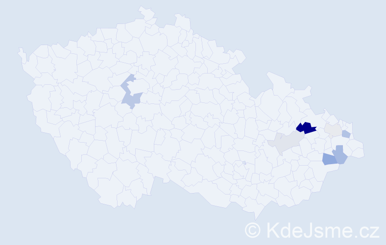 Příjmení: 'Faldýn', počet výskytů 15 v celé ČR