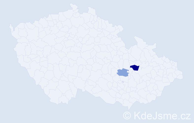 Příjmení: 'Laiková', počet výskytů 3 v celé ČR