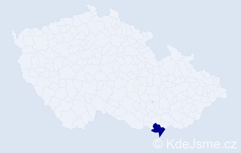 """Příjmení: '""""Aslett Pouchlá""""', počet výskytů 1 v celé ČR"""