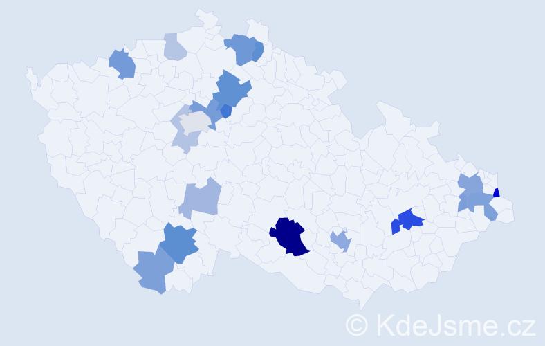 Příjmení: 'Čierny', počet výskytů 46 v celé ČR