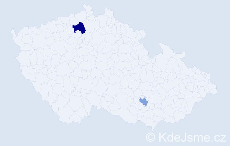 Příjmení: 'Babecká', počet výskytů 2 v celé ČR