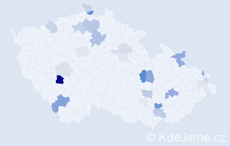 Příjmení: 'Čelko', počet výskytů 63 v celé ČR