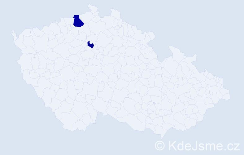 Příjmení: 'Hořešovská', počet výskytů 4 v celé ČR