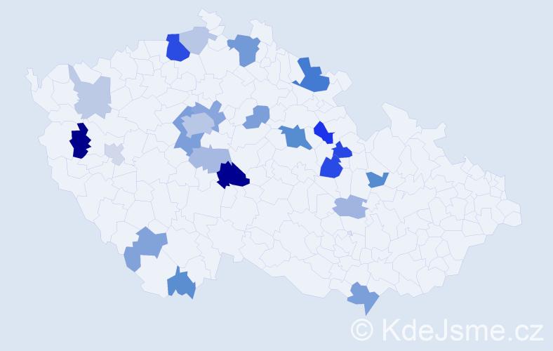 Příjmení: 'Hainz', počet výskytů 56 v celé ČR