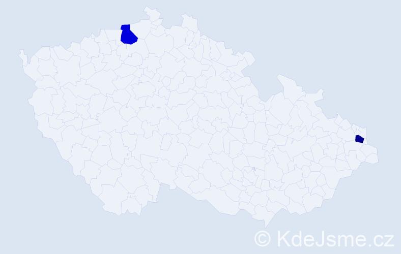 Příjmení: 'Bimson', počet výskytů 2 v celé ČR