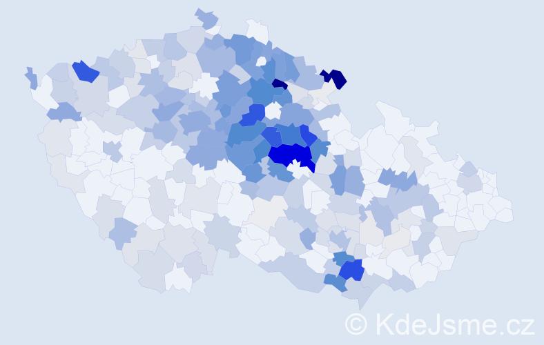 Příjmení: 'Kosina', počet výskytů 889 v celé ČR