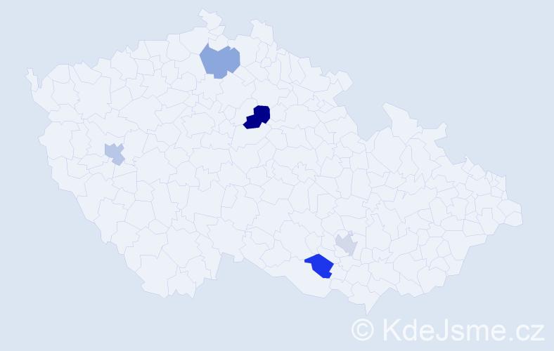 Příjmení: 'Kepler', počet výskytů 6 v celé ČR