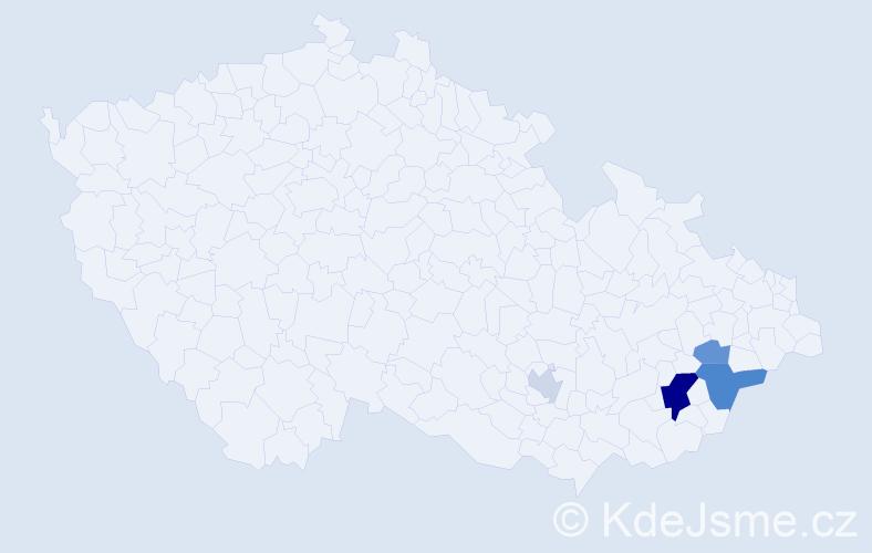 Příjmení: 'Hajtr', počet výskytů 9 v celé ČR