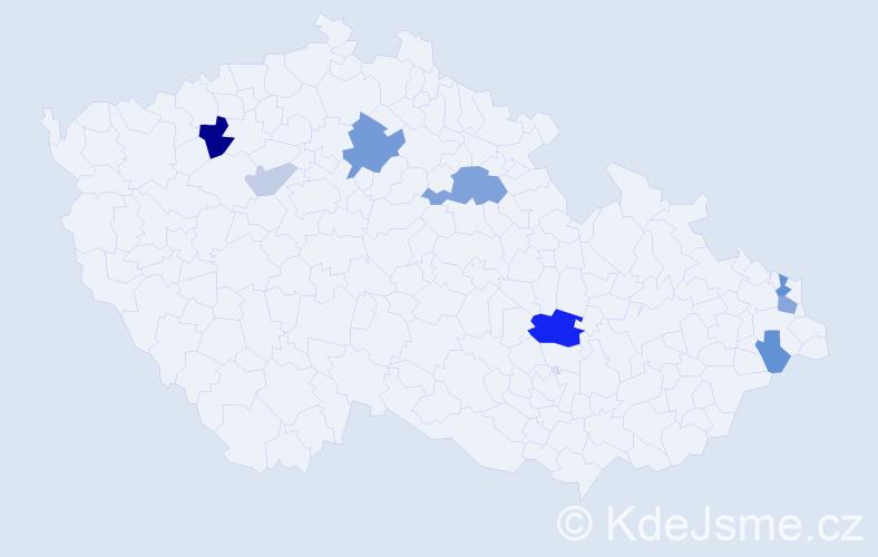 Příjmení: 'Grešo', počet výskytů 19 v celé ČR