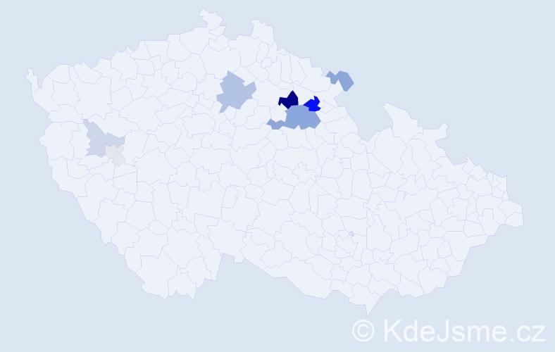 Příjmení: 'Kleandr', počet výskytů 21 v celé ČR